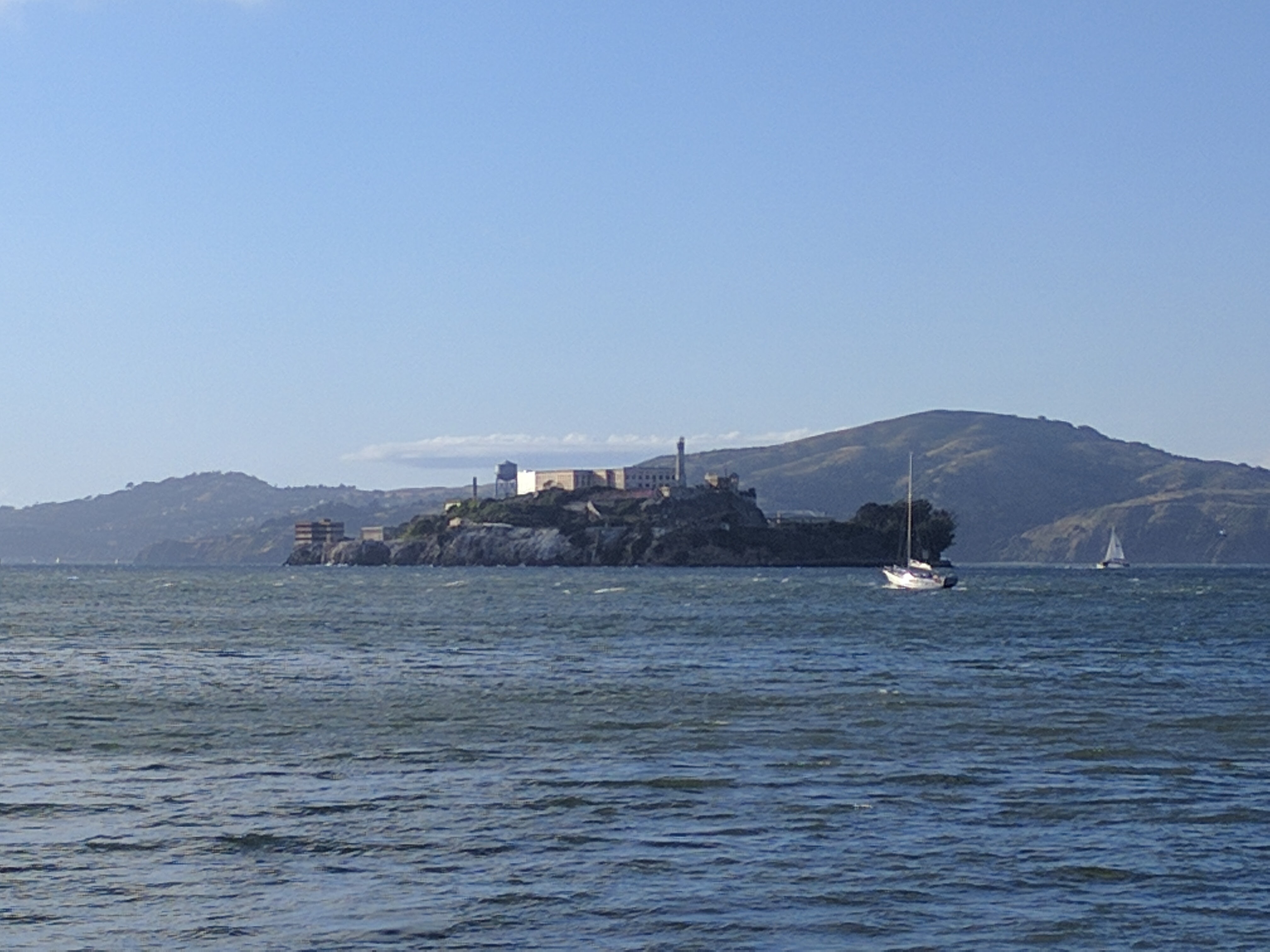 Zoomed in Alcatraz view from the docks